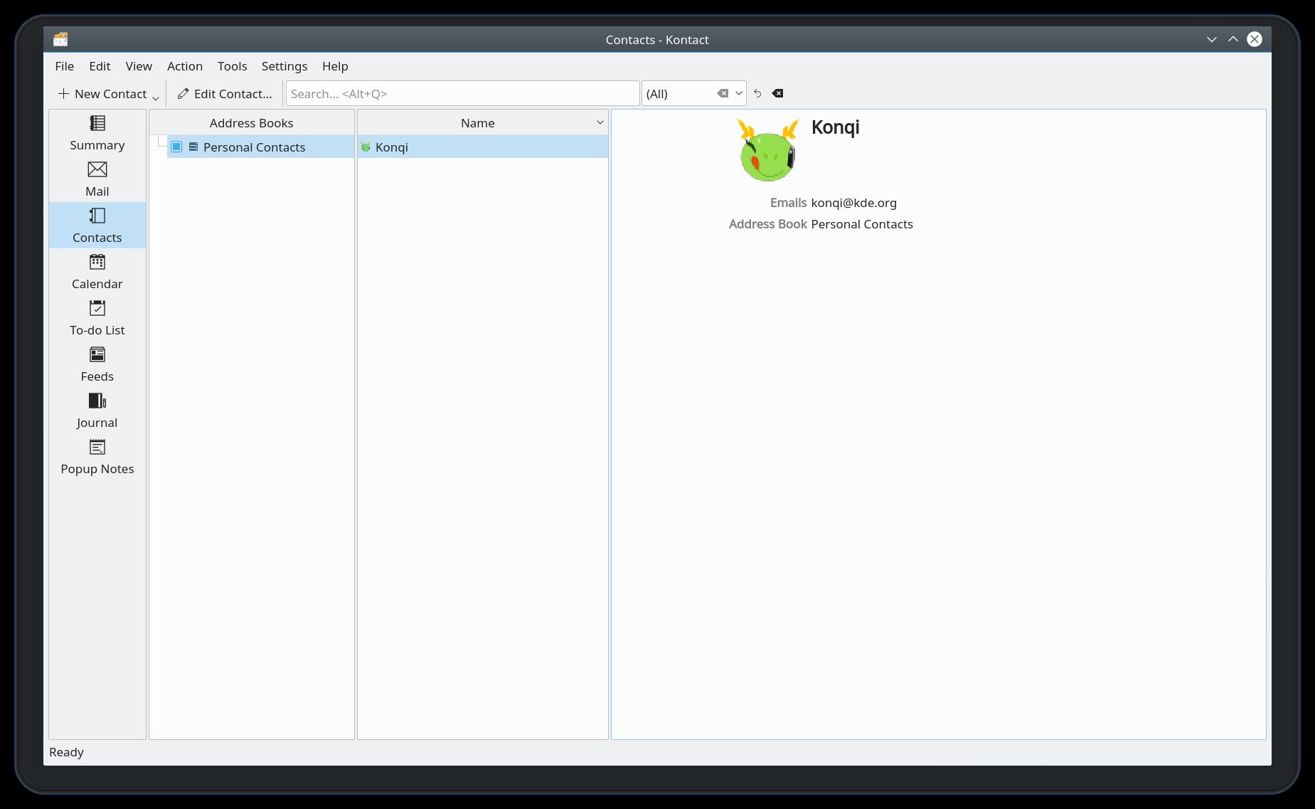 KDE - KAddressBook - Contact Manager