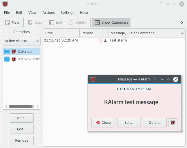 KAlarm configuration window with a testing message alarm