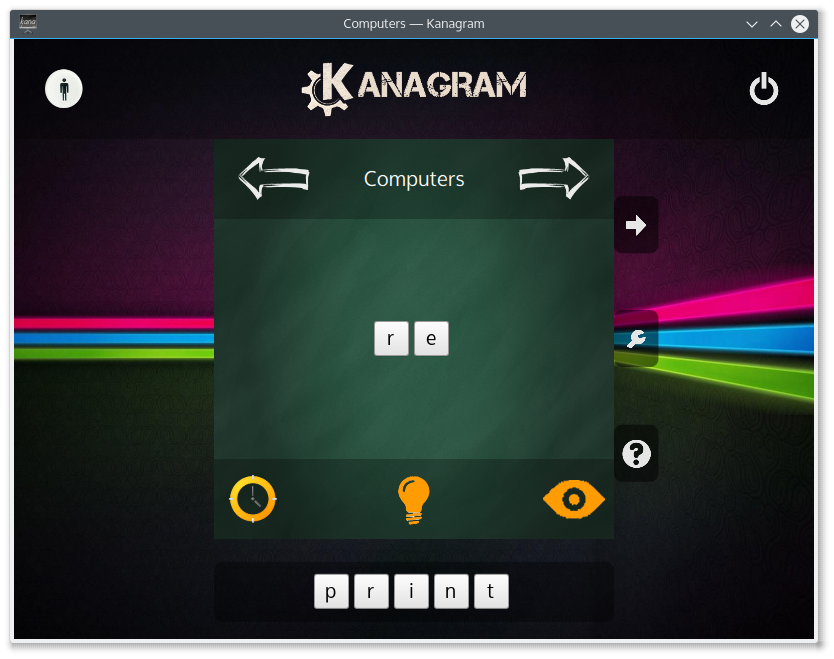 Partie de Kanagram en cours