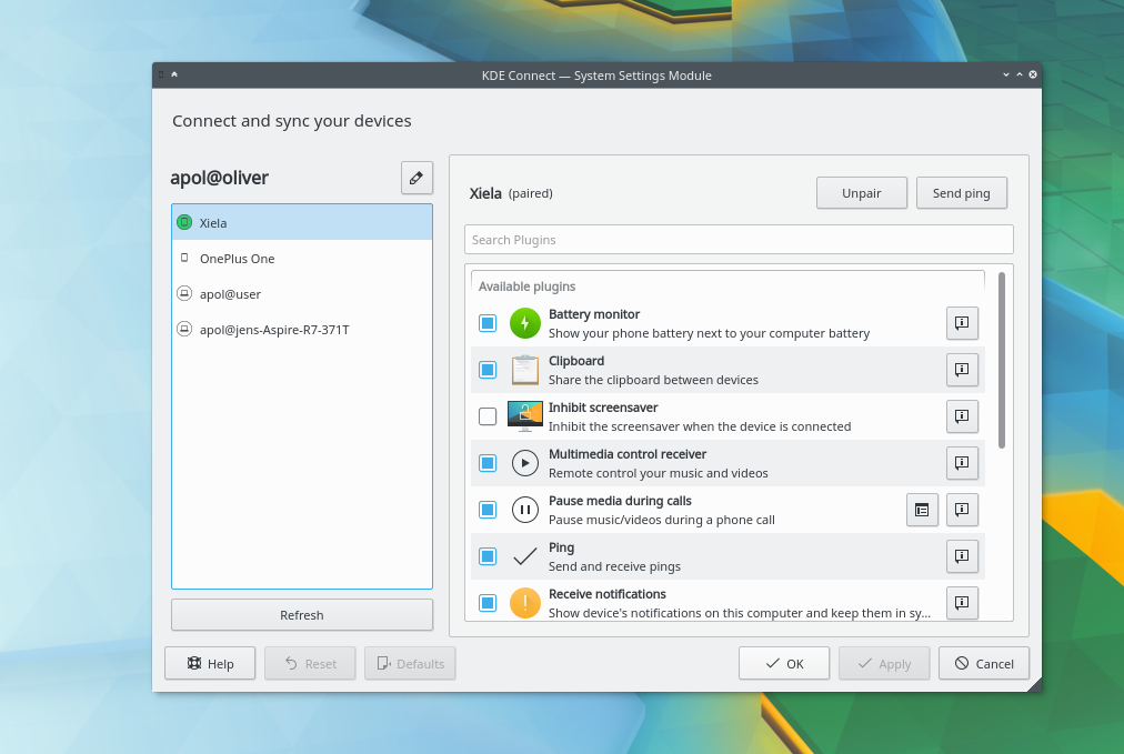 Copie d'écran de KDE Connect