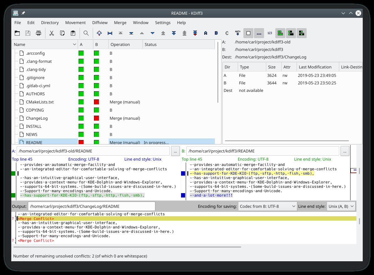 Captura de pantalla del KDiff3