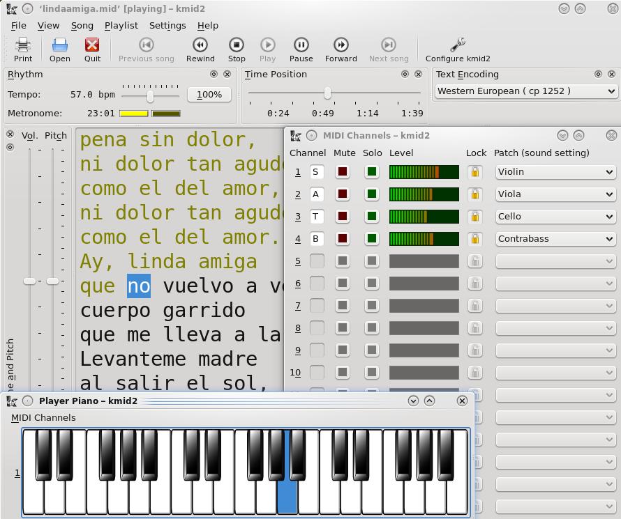 KDE - KMid - A KDE4 MIDI/Karaoke Player