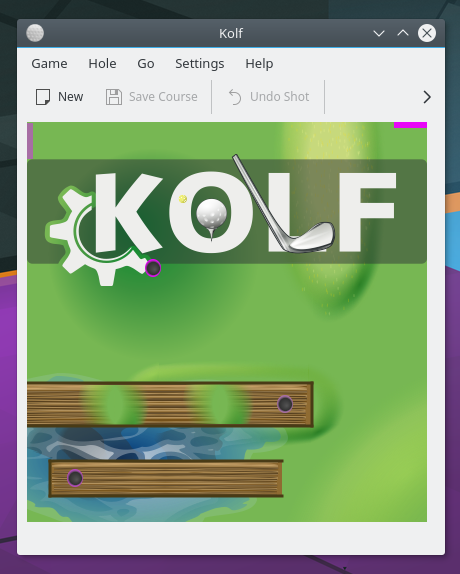 Initial screen of Kolf