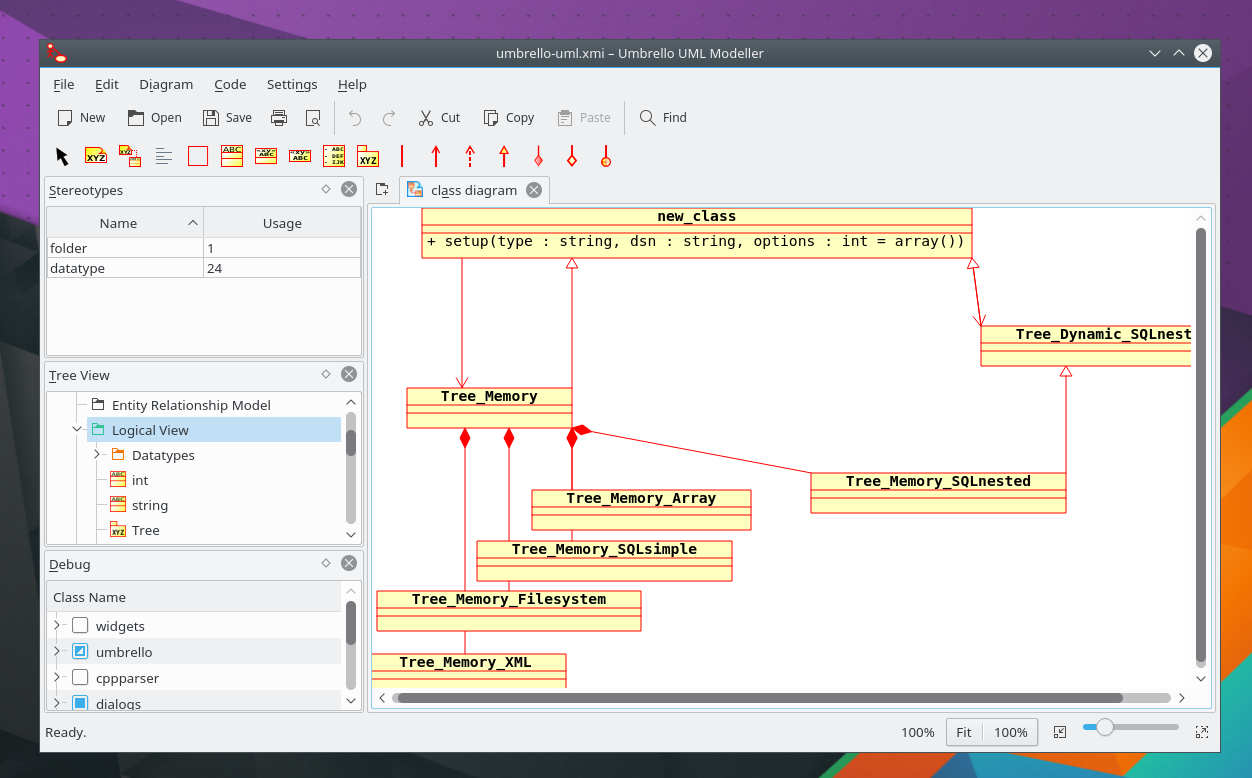 Kde umbrello uml modeller it can create diagrams of software and other systems in the industry standard uml format and can also generate code from pooptronica